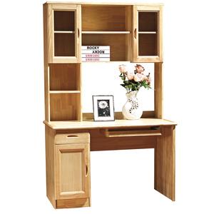实木电脑桌_中式实木电脑桌带书架书桌学习桌橡胶木简易台式家用