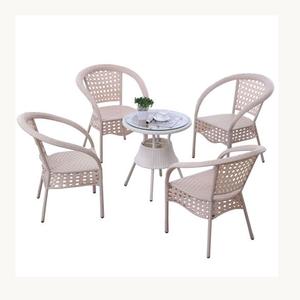 米白圆茶几藤椅